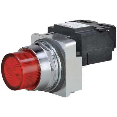 Pilot Light Complete, 30mm, 24VAC/DC Voltage, Lamp Type: LED, Terminal Connection: Pressure Plate