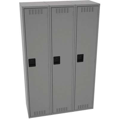 "Medium Gray Wardrobe Locker, (3) Wide, (1) Tier Openings: 3, 15"" W X 18"" D X 72"" H"