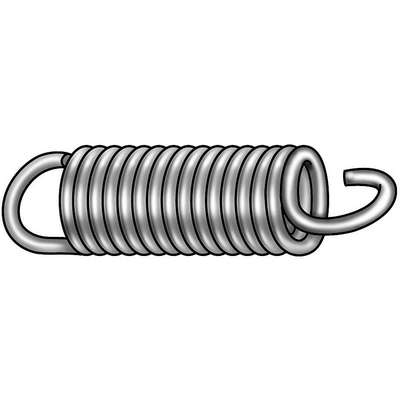 "2-5/8"" High Carbon Steel Cot Extension Spring with Zinc Plated Finish; PK6"