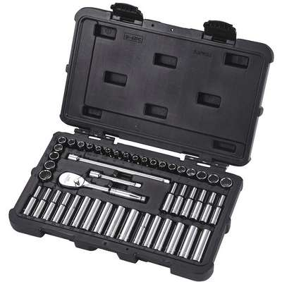 "1/4""Drive SAE/Metric Chrome Socket Set, Number of Pieces: 47"