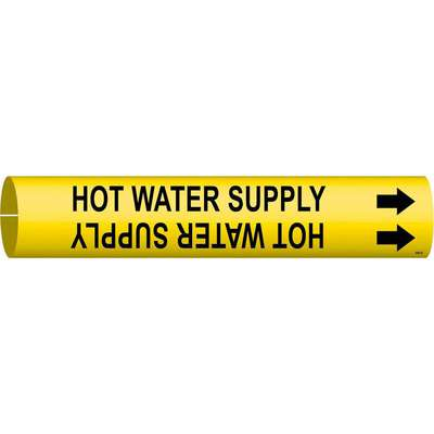 "Pipe Marker, Water, Fits Pipe O.D. 1/2"" to 2-3/8"", Snap-On Marker Attachment Style, Plastic"