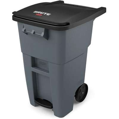 "BRUTE® 50 gal. Rectangular Flat Top Roll Out Trash Can, 39-37/64""H, Gray"
