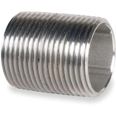 "3/4"" x Close Thread 304 Stainless Steel Close Pipe Nipple, Pipe Schedule 40, Threaded on Both Ends"