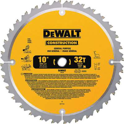 "Dewalt DW3103 10"" Carbide Combination Circular Saw Blade, Number of Teeth: 32"