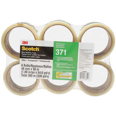 Polypropylene Carton Sealing Tape, Hot Melt Resin Adhesive, 48mm X 50m, 6 PK