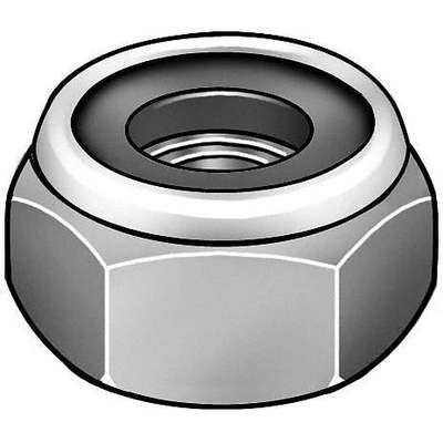 "5/8""-11 Nylon Insert Lock Nut, Zinc Plated Finish, Grade 2 Steel, Right Hand, PK10"
