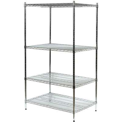 "Starter Wire Shelving Unit, 60""W x 18""D x 74""H, 4 Shelves, Zinc Plated Finish, Silver"