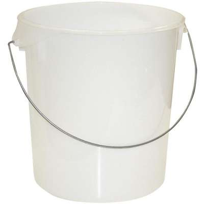 "13-1/8"" x 6-1/4"" x 14"" Polyethylene Round Storage Container, White"