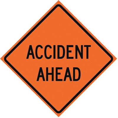 Vinyl Roll Up Road Work Sign, Accident Ahead, 36 in. H x 36 in. W