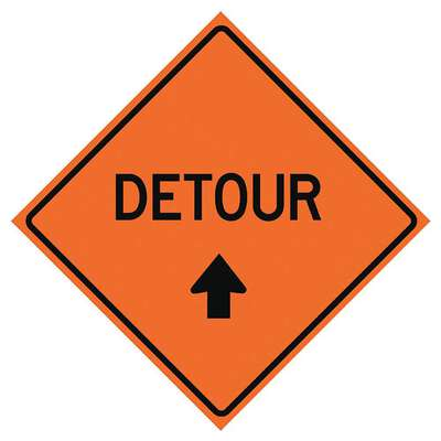Mesh Roll Up Road Work Sign, Detour, 36 in. H x 36 in. W