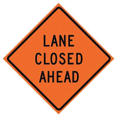 Vinyl Roll Up Road Work Sign, Lane Closed Ahead, 48 in. H x 48 in. W