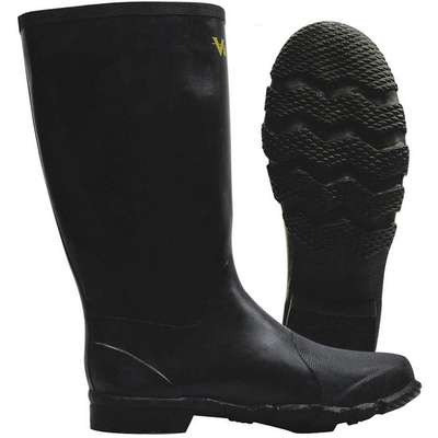 "14""H Unisex Rubber Construction Boots, Plain Toe Type, Natural Rubber Upper Material, Black, Size 11"