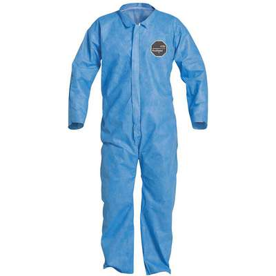 Collared Disposable Coveralls with Open Cuff, SMS Material, Blue, M