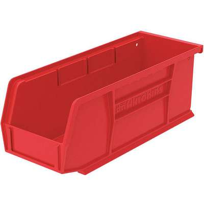 "Hang and Stack Bin, Red, 10-7/8"" Outside Length, 4-1/8"" Outside Width, 4"" Outside Height"