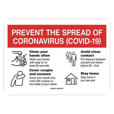 Polyester Coronavirus Prevention Wall Sign with No Header; 10 in. H x 14 in. W