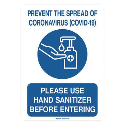 Polyester Coronavirus Prevention Wall Sign with No Header; 10 in. H x 7 in. W