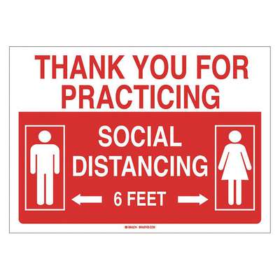 Polyester Social Distancing Wall Sign with No Header; 10 in. x 14 in. W