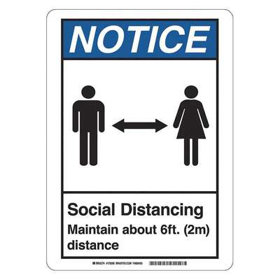 Polystyrene Social Distancing Wall Sign with Notice Header; 7 in. H x 10 in. W