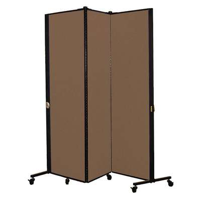 3 Panel Easy Assembly Portable Room Divider; 5 ft. 9 in. H x 5 ft. 9 in. W, Walnut