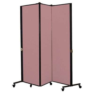 3 Panel Easy Assembly Portable Room Divider; 5 ft. 9 in. H x 5 ft. 9 in. W, Rose