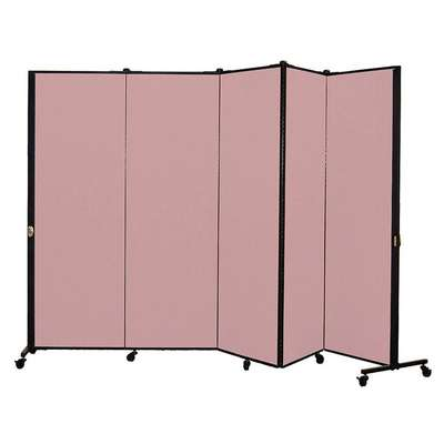5 Panel Easy Assembly Portable Room Divider; 5 ft. 9 in. H x 9 ft. 5 in. W, Raspberry Mist