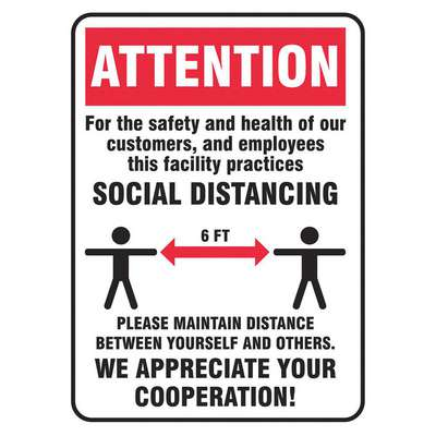 Plastic Social Distancing Wall Sign with Attention Header; 14 in. H x 10 in. W