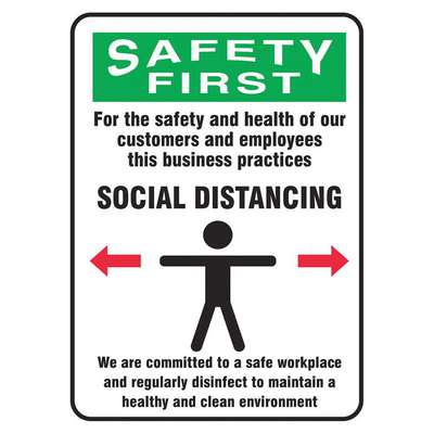 Vinyl Social Distancing Wall Sign with Safety First Header; 14 in. H x 10 in. W