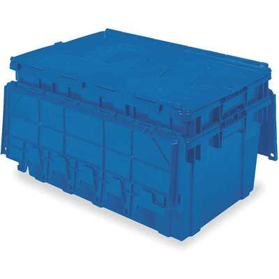 "Attached Lid Container, Blue, 12-1/2""H x 27""L x 16-15/16""W, 1EA"