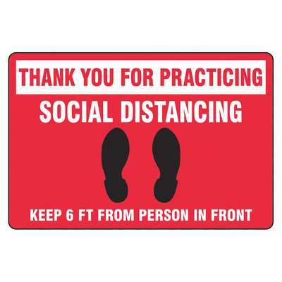 Vinyl Social Distancing Floor Sign with No Header; 12 in. H x 18 in. W