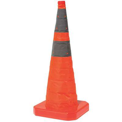 28 in. Polyester Collapsible Traffic Cone, Orange