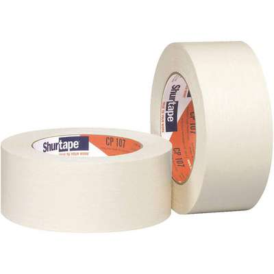 Paper Masking Tape, Rubber Tape Adhesive, 4.90 mil Thick, 24mm X 55m, White, 36 PK