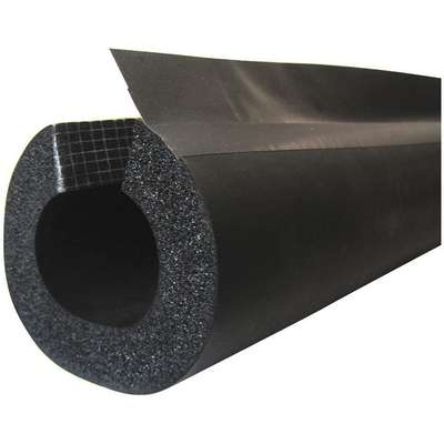 "1"" Thick, Pre-Slit/Pre-Glued with Overflap NBR/PVC Pipe Insulation, 6 ft. Insulation Length"