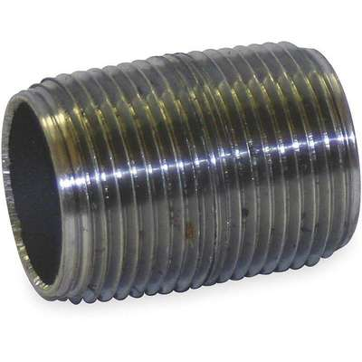 "1/2"" Black Steel Close Pipe Nipple, Close Thread Overall Pipe Length, Threaded on Both Ends, Welded,"