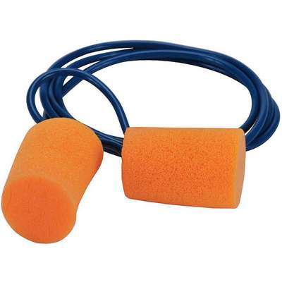 Cylinder Ear Plugs, 29dB Noise Reduction Rating NRR, Corded, Universal, Orange, PK 200