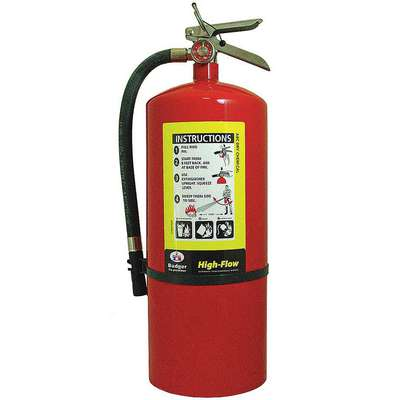 20 lb., ABC Class, Dry Chemical Fire Extinguisher; 30 ft. Range Max., 20 sec. Discharge Time
