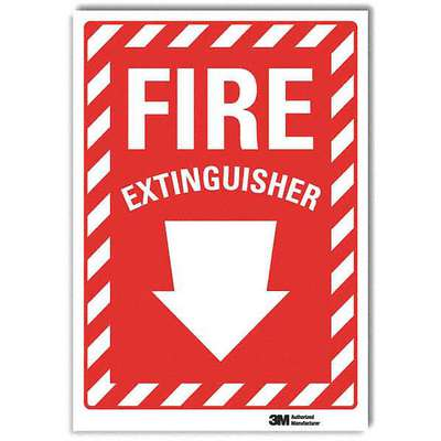"Fire Equipment, No Header, Vinyl, 7"" x 5"", Adhesive Surface, Engineer"