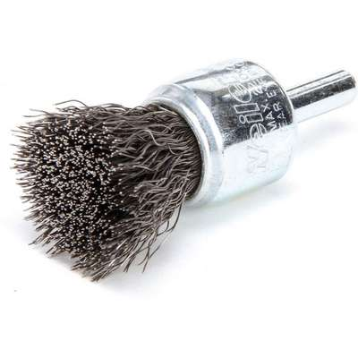 "3/4"" Crimped Wire End Brush, 1/4"" Shank, 0.010"" Wire Dia., 3/8"" Bristle Trim Length"