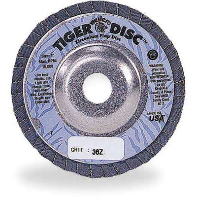 "7"" Flap Disc, Type 29, 7/8"" Mounting Hole, Extra Coarse, 24 Grit Zirconia Alumina, 1 EA"