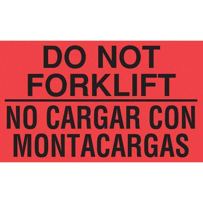 Bilingual Shipping Labels, Do Not Forklift/No Cargar Con Montacargas, Paper, Adhesive Back