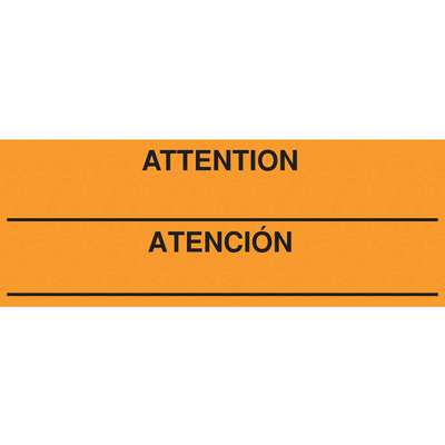 "Bilingual Shipping Labels, Attention/Atencion, Paper, Adhesive Back, 8"" Width, 3"" Height"