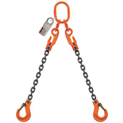 10 ft. Adjustable, Oblong, Sling Hook Chain Sling, Grade 100 Alloy Steel , Number of Sling Legs: 2