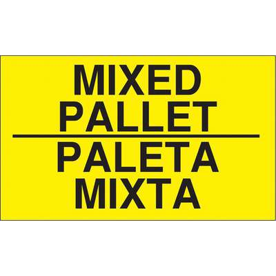 "Bilingual Shipping Labels, Mixed Pallet/Paleta Mixta, Paper, Adhesive Back, 5"" Width, 3"" Height"