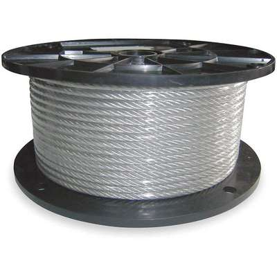 Cable, 1/16 in Outside Dia., Galvanized Steel, 100 ft Length, 1 x 19, Working Load Limit: 100 lb