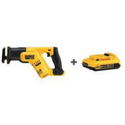 "Dewalt 20V MAX DCS387B/DCB203 20V Cordless Reciprocating Saw, 1-1/8"" Length of Stroke, Straight Cut"