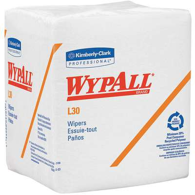 "WYPALL L30, Dry Wipe, 12"" x 12-1/2"", Number of Sheets 90, White, PK 12"