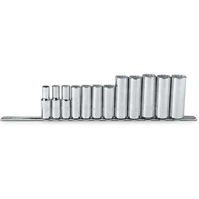"3/8""Drive Metric Chrome Socket Set, Number of Pieces: 12"