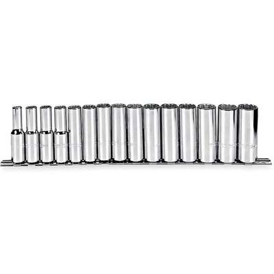 "1/2""Drive Metric Chrome Socket Set, Number of Pieces: 15"