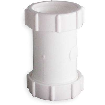 "Polypropylene White Coupling, 1-1/2"" or 1-1/4"" Pipe Dia., Slip Connection - Drains"