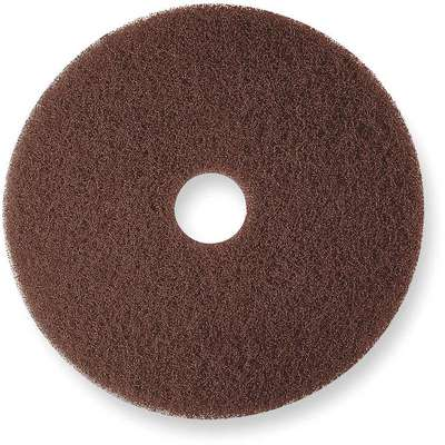 "20"" Non-Woven Nylon/Polyester Fiber Round Stripping Pad, 175 to 600 rpm, Brown, 5 PK"