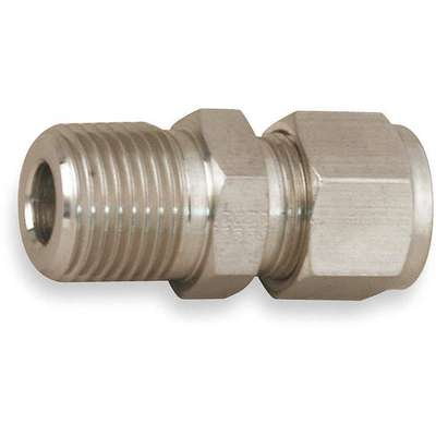 "Male Connector, 1/4"" Tube Size, 1/4"" Pipe Size - Pipe Fitting, Metal, 9/16"" Hex Size"